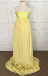 A-line Strapless Ruched Sleeveless Brush Train Satin Chiffon Maternity Dress