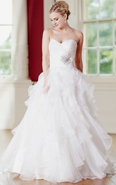 Sweetheart Criss cross Ruffled Ball Gown With Corset Back