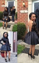 Long Sleeve A-line Ball Gown Short Mini High Neck Pleats Ruching Taffeta Lace Homecoming Dress