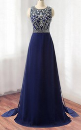Scoop-neck Sleeveless A-line Prom Dress With jeweled top