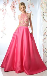 Jewel-Neck Beaded Sleeveless Satin Keyhole Court-Train Ball Gown