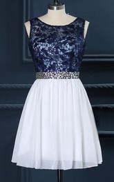 Scoop-neck Sleeveless short Dress With Lace top And Jeweled Waist