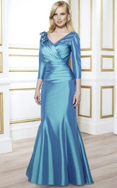 Satin Ruched Long-Sleeve V-Neckline Mother Of The Bride