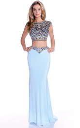Column Jeweled-Bodice Cap-Sleeve Crop-Top Formal Jersey Dress