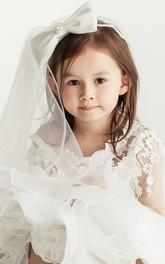 Flower Girl Wedding Tulle Veil With Beaded Bow