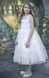 Lace Illusion Floral 3-4-Length Flower Girl Dress