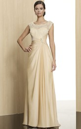 Scoop-Neckline Low-V Back Sleeveless Floor-Length Formal Dress
