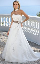 Strapless A-line Wedding Dress With Side Draping And Flower