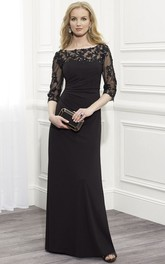Bateau Illusion Half Sleeve Jersey Mother of the Bride Dress With Appliques And side Ruching