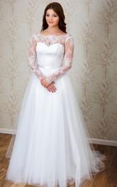 Tulle Deep-V Back Bateau-Neck A-Line Dress