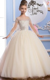 Tulle Scoop-Neck Long Sleeve Beading Flower Girl Dress