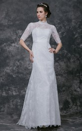 Pleated High Neckline Lace Long-Sleeve Gorgeous Long Dress