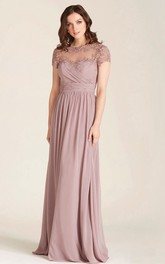 Short Sleeve Bateau Chiffon Mother of the Bride Dress With Appliques And Low-V Back