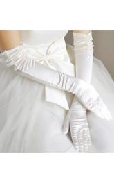 Lace Satin Plus Long Elbow White Wedding Gloves