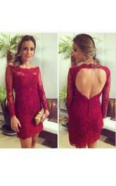 Mini Sheath Lace Dress with Keyhole Back