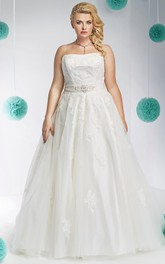 A-line Strapless Tulle Satin plus size wedding dress With Appliques And bow