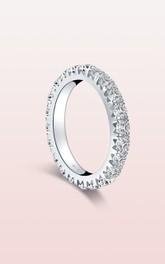 Round Cut Side Stones Rhinestone 925 Silver Wedding Rings