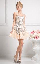 A-Line Mini Spaghetti Sleeveless Chiffon Dress With Sequins