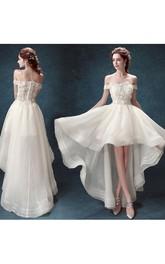Off-the-shoulder Organza Lace Short Sleeve High-Low Appliques Pleats Dress