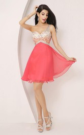 Sleeveless A-line Short Mini One-shoulder Beading Pleats Chiffon Homecoming Dress