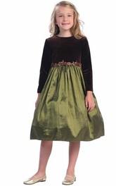 Two-tone Jewel-Neck Long Sleeve Tea-length Flower Girl Dress With Embellished Waist