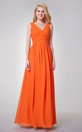 V-neck Sleeveless Chiffon Floor-length Dress With Zipper