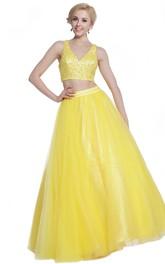 A-Line Jeweled Floor-Length V-Neck Satin Sleeveless Zipper Dress