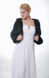 Long Sleeve Faux Fur Wedding Jacket