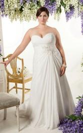 Sweetheart Criss-cross ruched Chiffon Long plus size wedding dress With Corset Back
