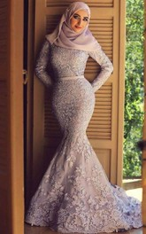 Appliques Sweep Train Lace Mermaid Dress