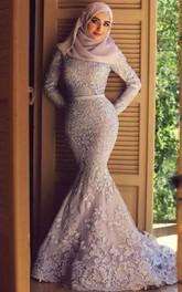 Appliques Sweep Train Lace Mermaid Dress