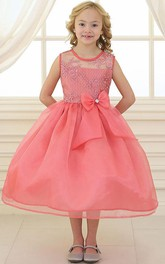 Lace Illusion Bowknot 3-4-Length Flower Girl Dress