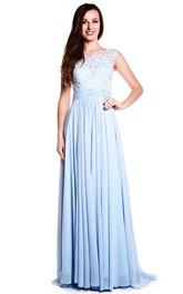 Bateau Sleeveless Chiffon Pleated Dress With Illusion Lace top