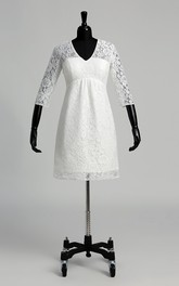 A-line Lace V-neck Knee-length 3/4 Length Sleeve Ruched Wedding Dress