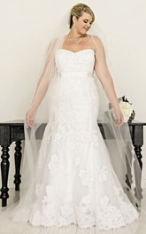 Strapless Mermaid Appliqued plus size wedding dress