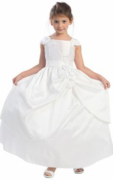 Lace Satin Ribbon Floral Ankle-Length Flower Girl Dress
