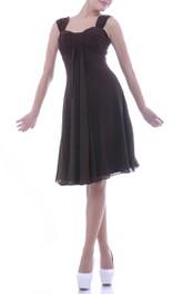 Empire Chiffon Bateau-Neck Short-Midi Draped Bridesmaid Dress