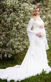 Country Off-the-shoulder Long Sleeve Pleated Ruched Ruffled Maternity Wedding Dress