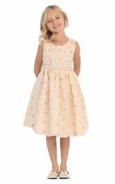 Layered Jeweled Tea-Length Sequined Flower Girl Dress