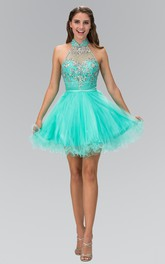 A-Line Straps Ruffled Jeweled Short Mini Sleeveless High-Neck Tulle Dress