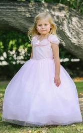 Tulle Layers Ruched Appliqued Organza Flower Girl Dress