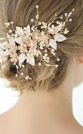 Golden Handmade Floral Bridal Hair Combs