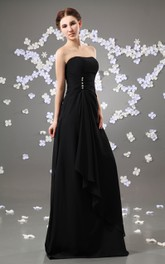 Chiffon Ruched Ruffle Strapless Enchanting Gown