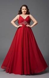 A-line Floor-length Spaghetti Sleeveless Chiffon Ruching Waist Jewellery Zipper Dress