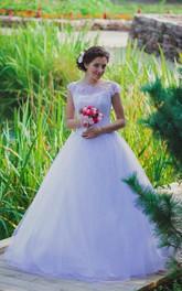 Princess Bateau Neck Lace Bodice A-Line Cap-Sleeve Ball Gown