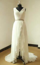 Wedding Beaded Satin Sash Ribbon Lace Chiffon Gown