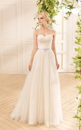 Long-Sleeve Criss Cross Lace Pleats Floor-Length A-Line Tulle Gown