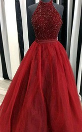 Halter Tulle Sequins Sleeveless Floor-length Beading Pleats Dress