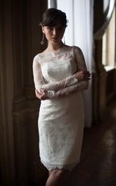 Lace High Neckline Fitted Inspire Sheath Short Wedding Dress