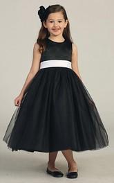 Sleeveless Satin Bowknot Tea-Length Tulle Flower Girl Dress